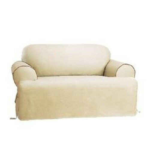 New t cushion sofa and loveseat set ivory natural w brown living slipcovers ebay Loveseat t cushion slipcovers