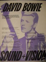 DAVID BOWIE 1990 Great Looking SOUND + VISION Promo Ad