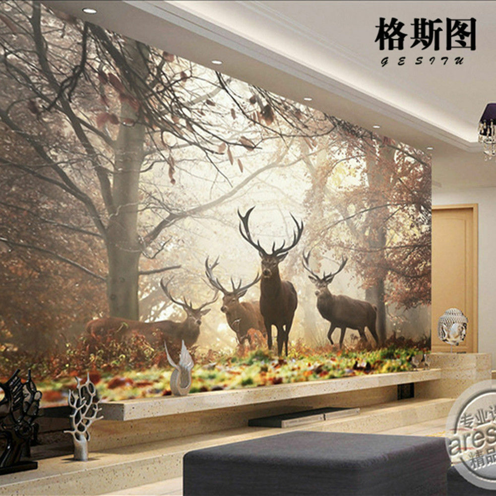 3d mural wallpaper sitting room bedroom forest milu deer for Deer mural wallpaper