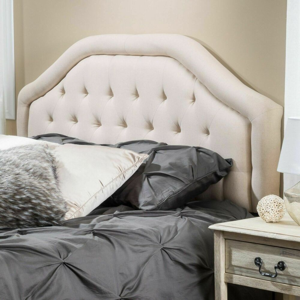 queen to full sized beige fabric headboard w button tufted accent ebay. Black Bedroom Furniture Sets. Home Design Ideas