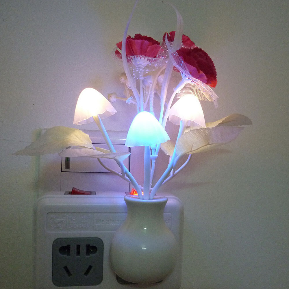 Romantic Floral Colorful Sensor Led Mushroom Night Light Wall Lamp Home Decor Ebay