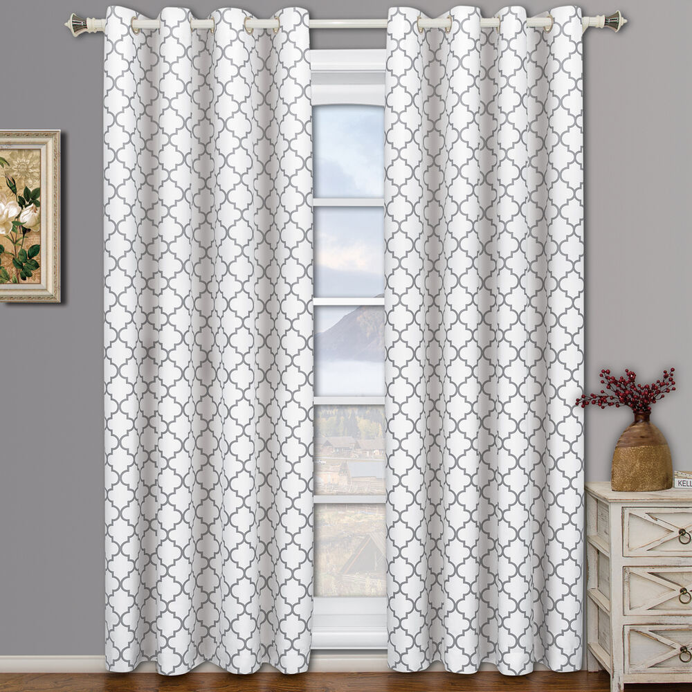 White Meridian Room Darkening Grommet Window Curtain