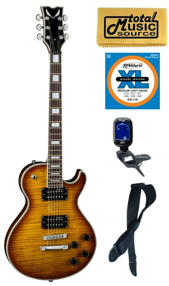 dean thoroughbred deluxe trans amber electric guitar free strings tuner strap t 852688868737 ebay. Black Bedroom Furniture Sets. Home Design Ideas