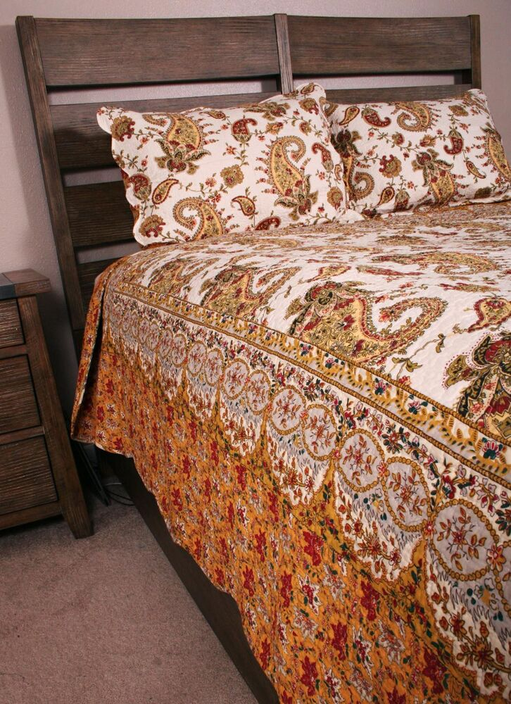 Queen Quilt Set French Country Provence Exotic Cotton Ebay