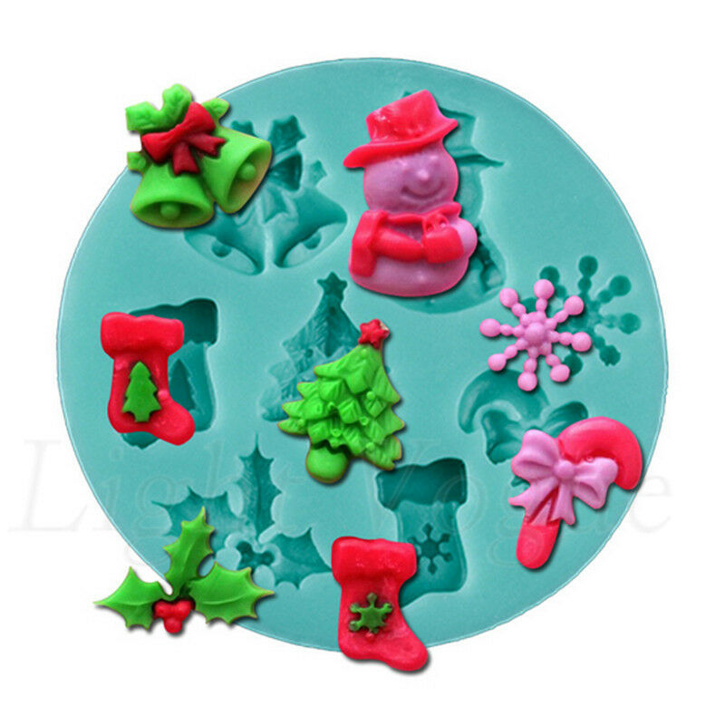 Christmas Cake Decoration Molds : Christmas 3D Silicone Candy Cake Baking Chocolate Fondant ...