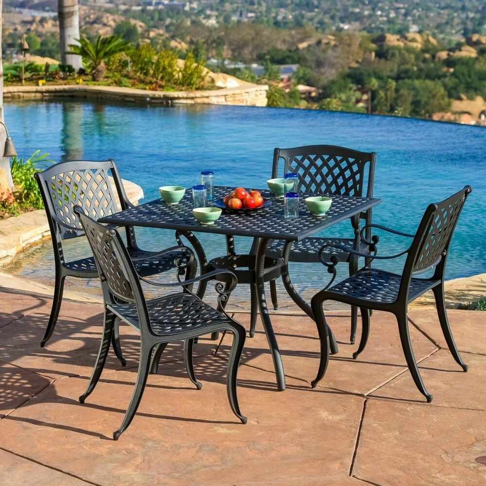 Garden Chair And Table Set On Ebay: Luxury Outdoor Patio Furniture 5pcs Cast Aluminum Black