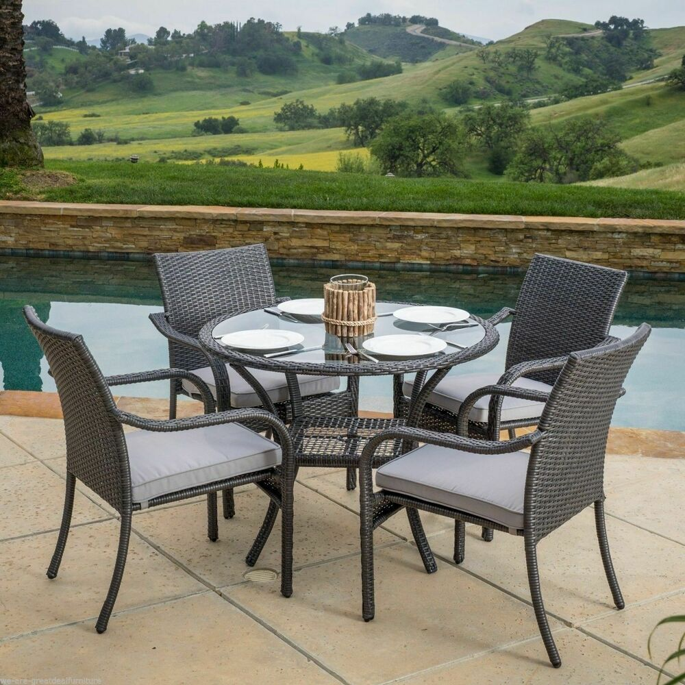 Outdoor Patio Furniture 5pc Grey PE Wicker Dining Set w Seat Cushions