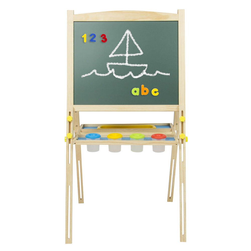 Kid Wood Easel Front Back Sketch Box Portable Folding