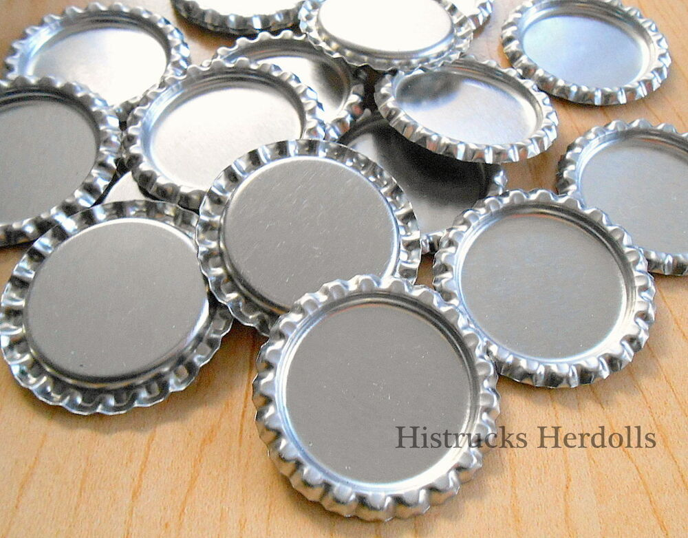 1 flat standard size chrome silver linerless bottle caps for Wholesale bottle caps for crafts