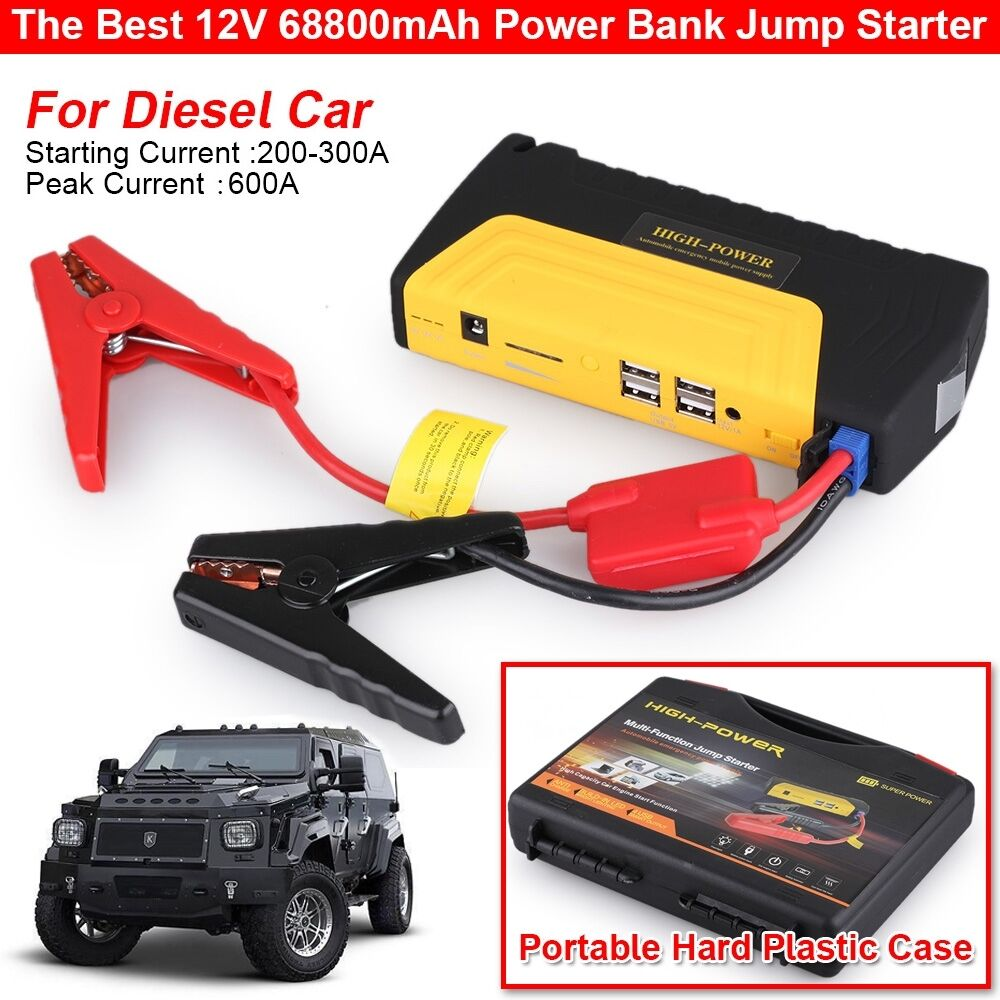 heavy duty 68800mah 4 usb power bank car jump starter portable emergency charger ebay. Black Bedroom Furniture Sets. Home Design Ideas