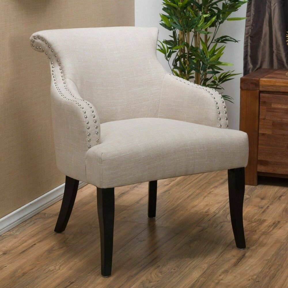 Contemporary Light Beige Fabric Arm Chair Ebay