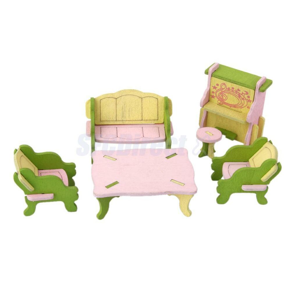 Wood Handcrafted Dollhouse Miniature Furniture Set Living Room For Kids Toy Ebay
