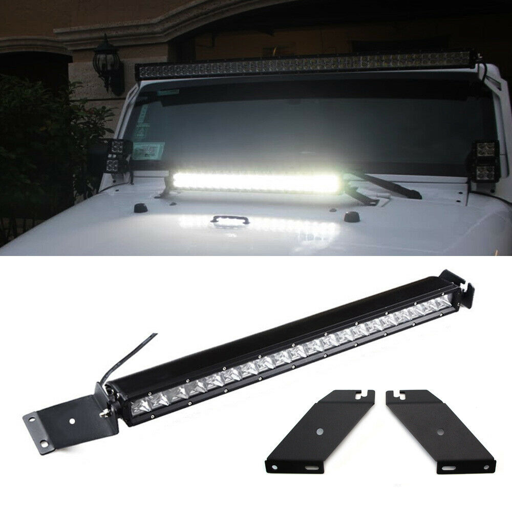 "High Power 200w 20 Inch Jeep Accessories Led Light Bar For: 100W 21"" LED Light Bar W/ Hood Mounting Bracket, Wiring"