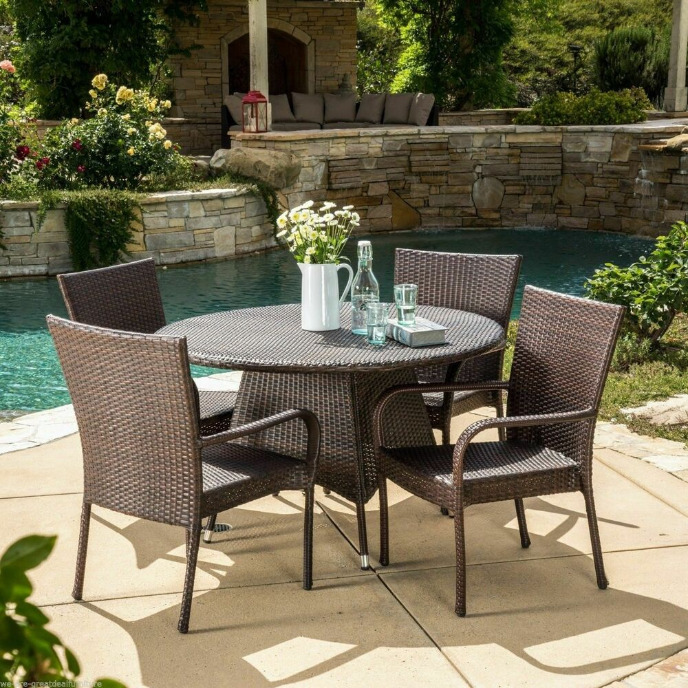 Outdoor patio 5pc multibrown all weather wicker dining set for Outdoor patio couch set
