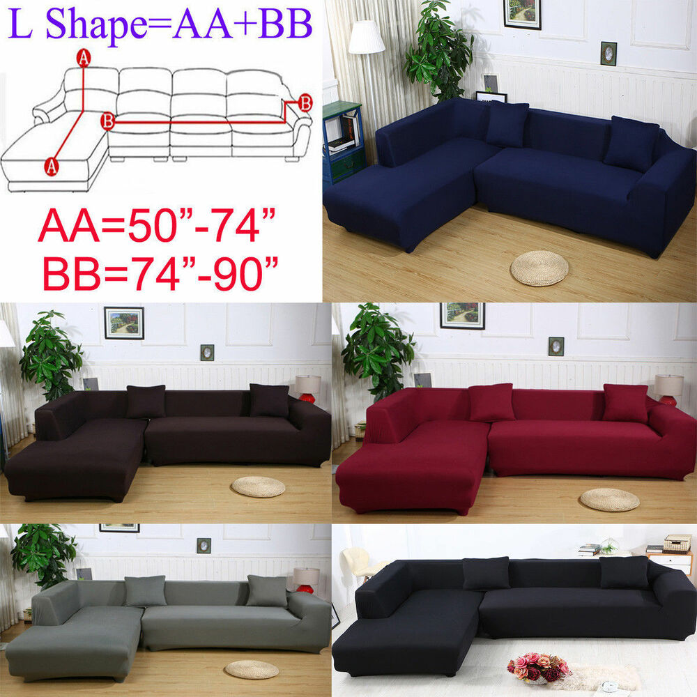 2 Seats 3 Seats Plush Stretch Sure Fit L Shaped Sectional Sofa