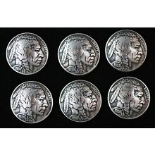 (6) BUFFALO NICKEL CONCHO / BUTTONS/ (FULLY DATED)