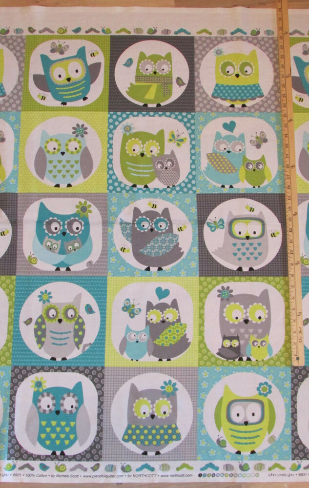Whooo loves you owl blue grey northcott baby kids fabric for Children s fabric panels