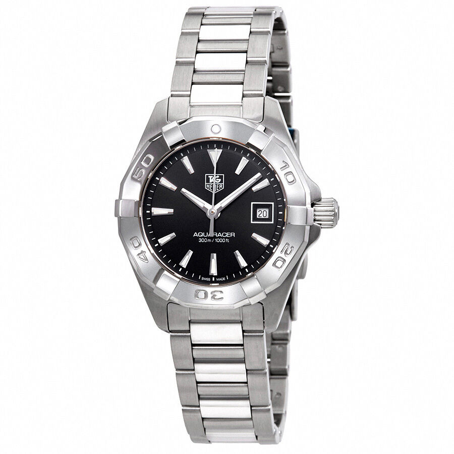 Tag heuer aquaracer black dial stainless steel ladies watch way1410 ba0920 ebay for Tag heuer women