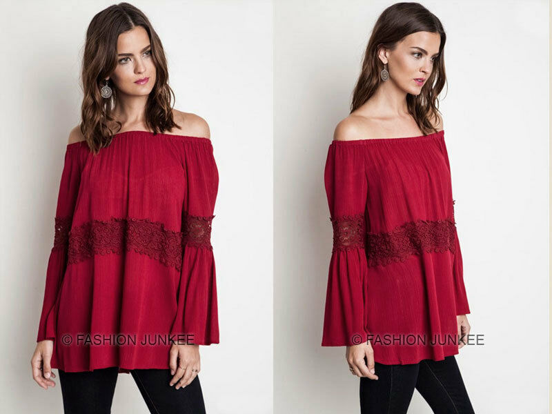 04f22d15fdea94 Details about RED BELL SLEEVE TOP OFF the Shoulder Peasant Boho Lace Long  Sleeve Tunic S M L