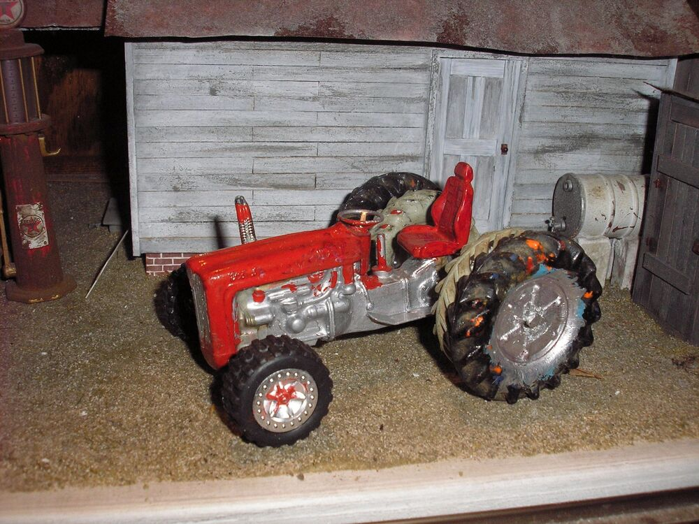 24 Inch Wheels Ford Tractor Parts : Vintage custom dual wheels die cast utility tractor