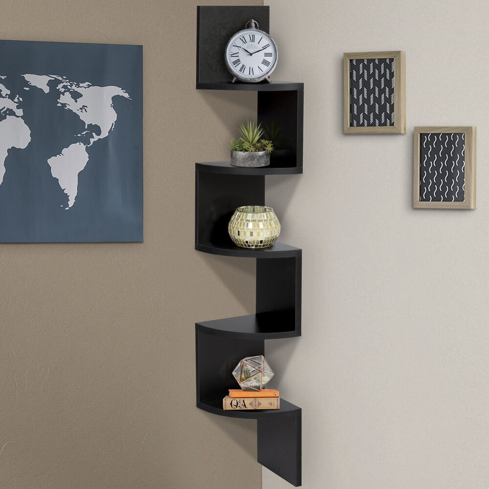 Large corner wood zig zag wall shelf black finish home for Home decor furnishing
