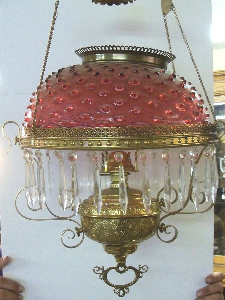 Antique Ornate Brass W Cranberry Glass Hobnail Shade Hanging Library Oil Lamp