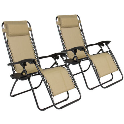 2 Folding Zero Gravity Reclining Lounge Chairs Utility Tray Outdoor Beach Pat