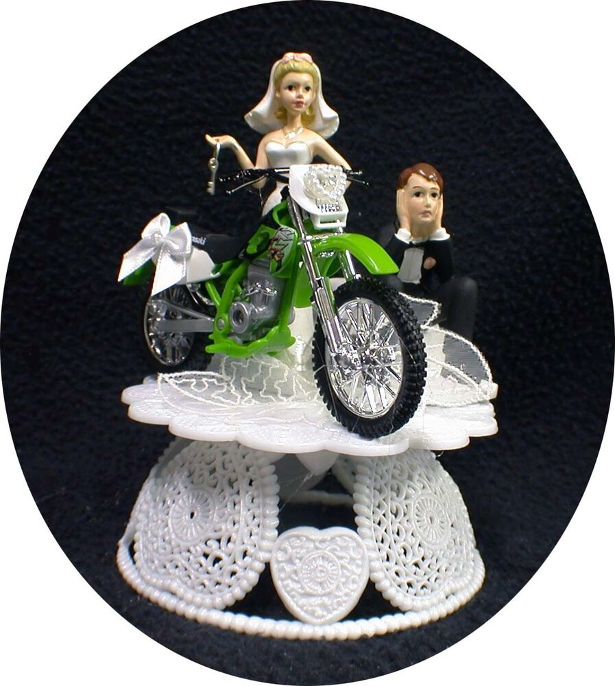 funny motorbike wedding cake topper kawasaki wedding cake topper green road dirt bike 14558