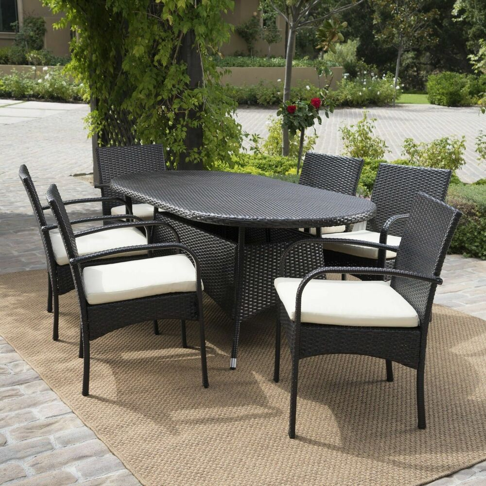 Outdoor patio furniture 7pc multibrown wicker oval dining for Garden patio sets