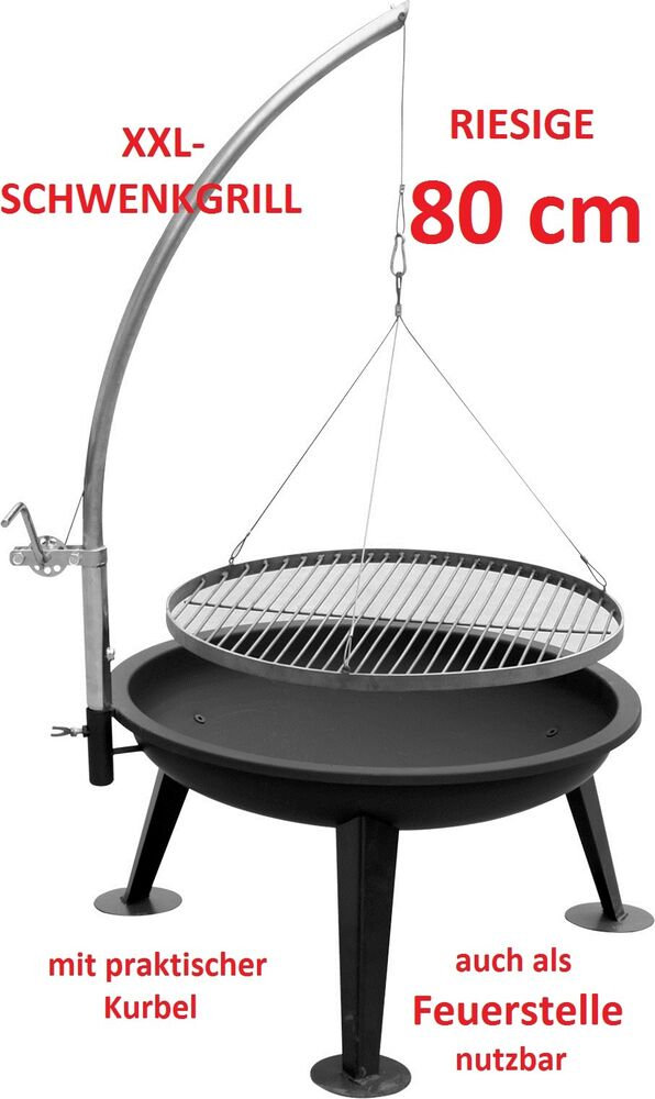 xxl schwenkgrill linus80 mit 80cm feuerschale grill bbq kohlegrill neu ovp ebay. Black Bedroom Furniture Sets. Home Design Ideas