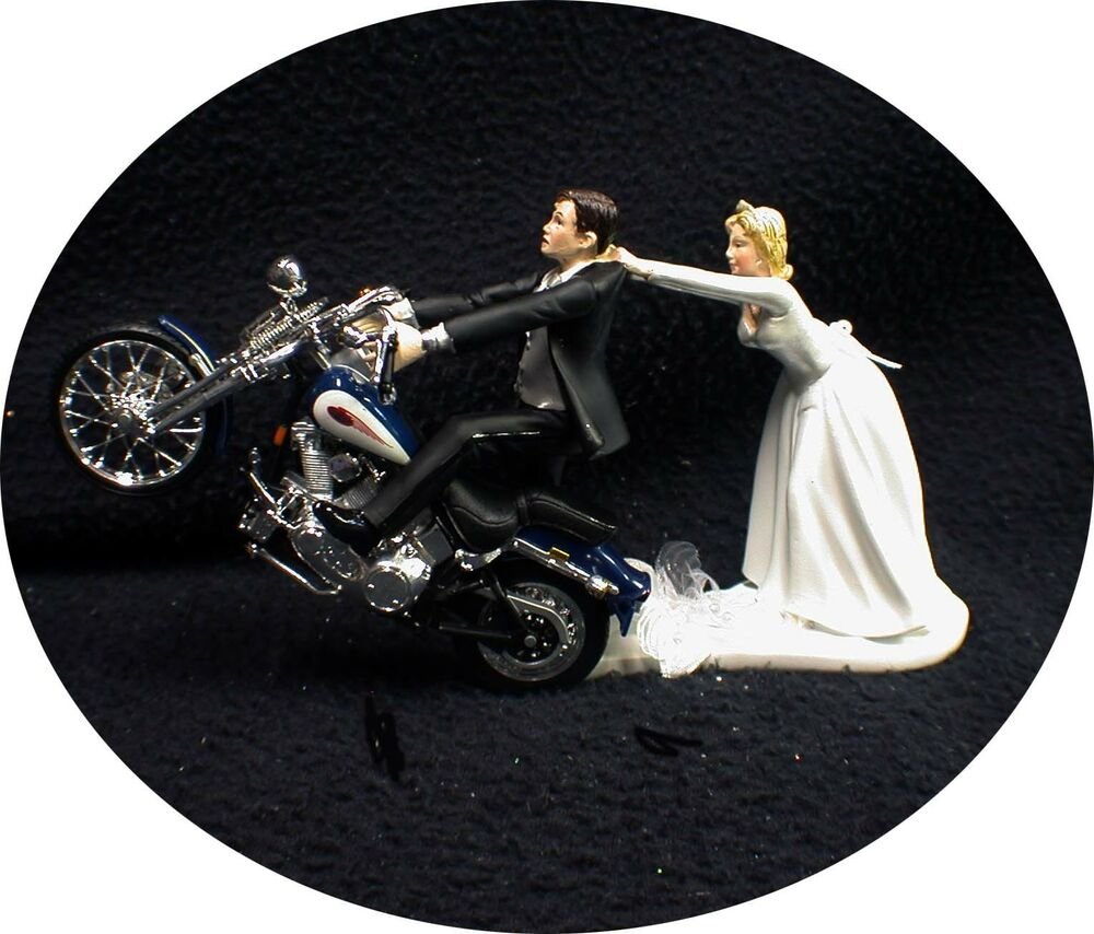 Motorcycle Wedding Cake Topper W Sexy Blue Harley