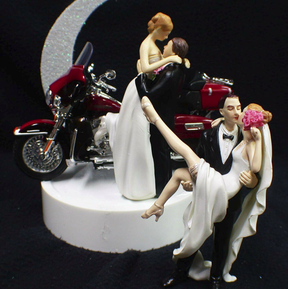 wedding cake topper w harley davidson motorcycle red electra glide sexy or kiss ebay. Black Bedroom Furniture Sets. Home Design Ideas