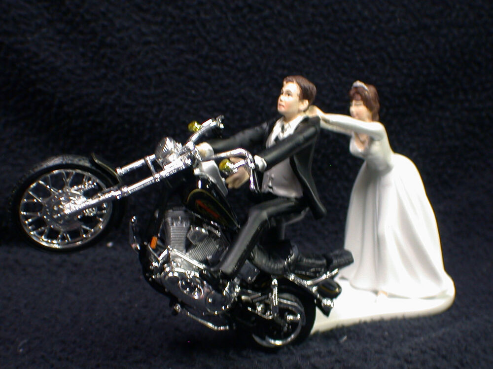 Motorcycle Wedding Cake Topper W Black Harley Davidson