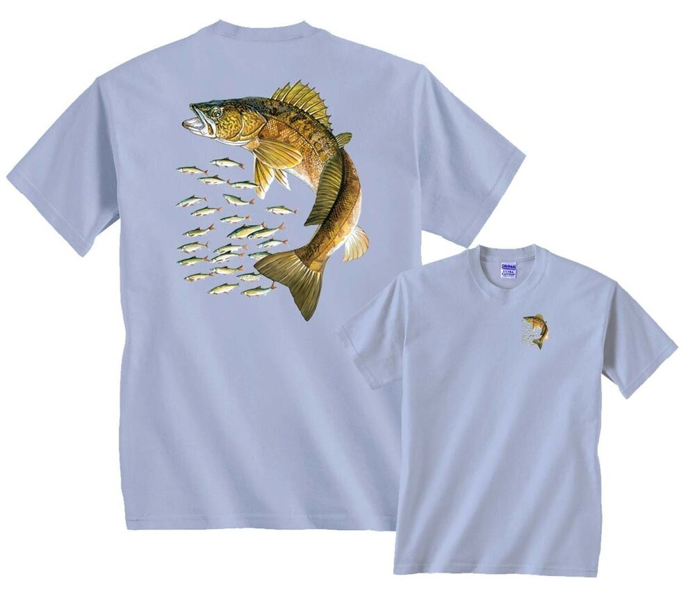 Walleye and little fishes fishing t shirt clearance ebay for Women s fishing t shirts