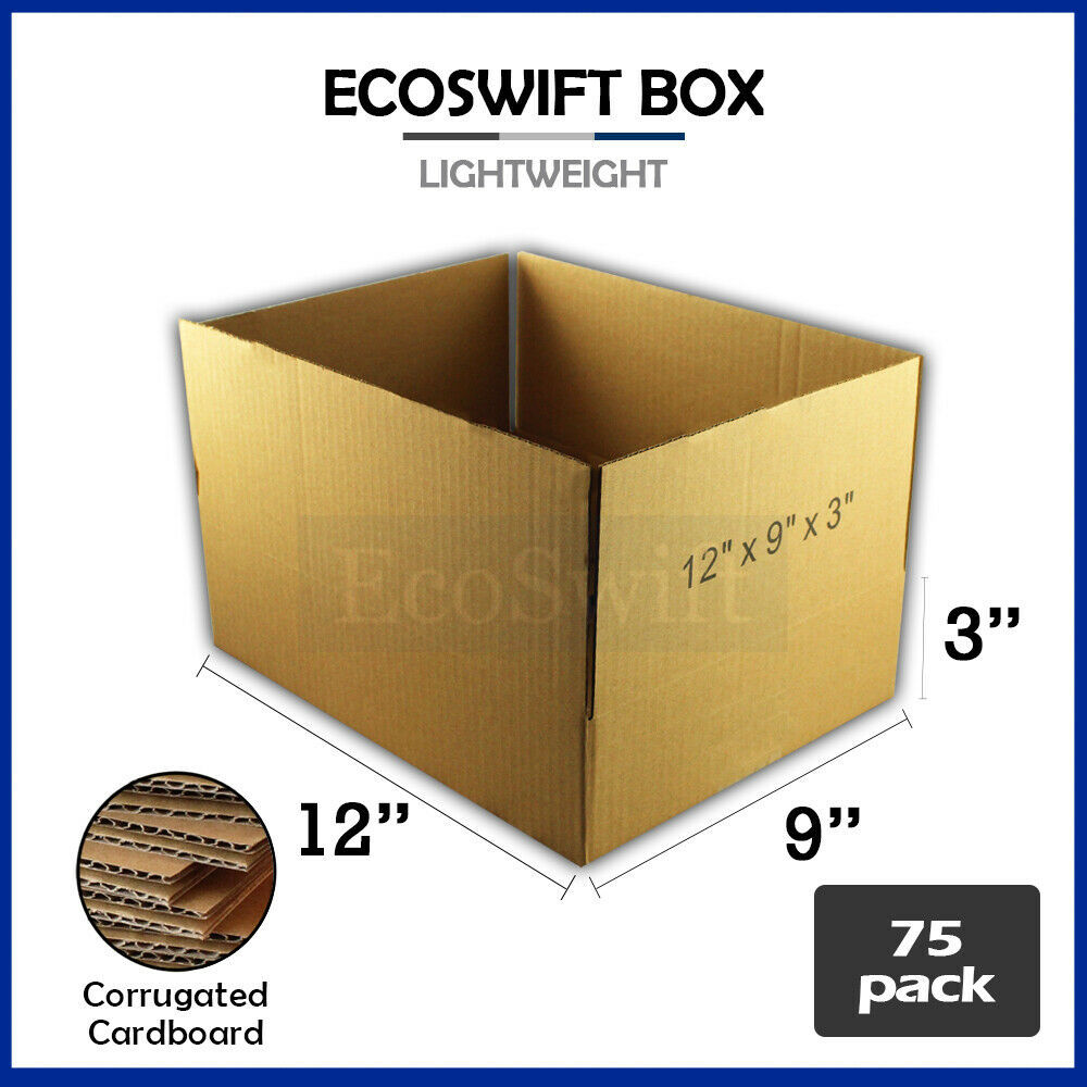 75 12x9x3 cardboard packing mailing moving shipping boxes. Black Bedroom Furniture Sets. Home Design Ideas