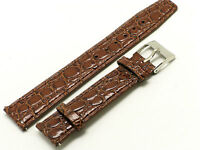 20mm Brown Thin Leather Watch Strap CROCO For All 20mm