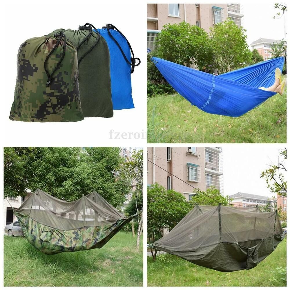 Portable travel jungle camping outdoor hammock hanging for Net hammock bed