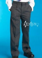 Boys M&S Pleat Front Grey School Trousers Ages 3-16 Super Crease,Stormwear