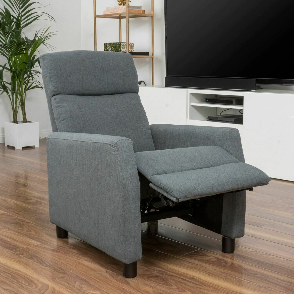 Contemporary grey fabric recliner club chair ebay - Wandspiegel groay modern ...