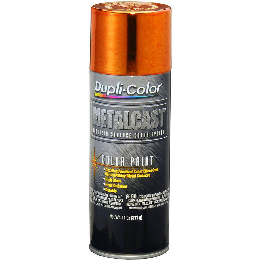 Dupli color 11oz orange anodized metalcast color heat resistant chrome auto ebay Metallic spray paint colors