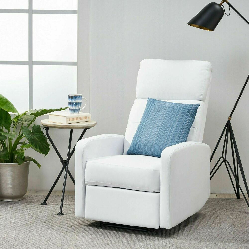 Contemporary White Leather Recliner Club Chair