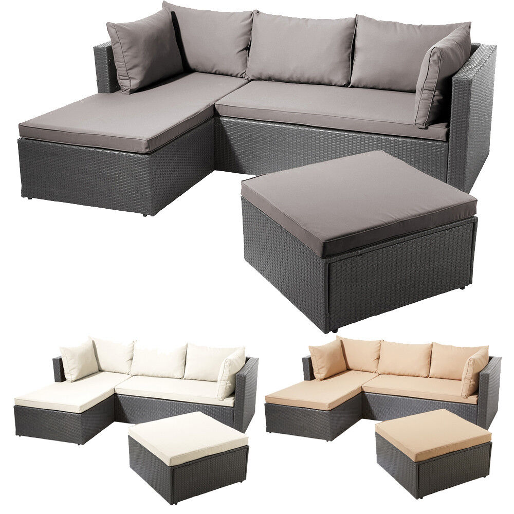 poly rattan garnitur sitzgruppe lounge m bel sofa gartenm bel garten gartenset ebay. Black Bedroom Furniture Sets. Home Design Ideas