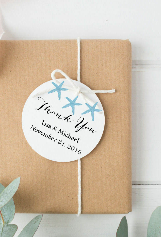 Beach Wedding Favor Tags, Round Favor Tags, Destination Personalized ...