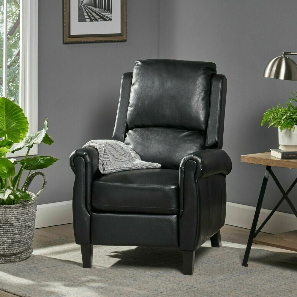 Traditional black leather recliner club chair ebay for Traditional couches for sale