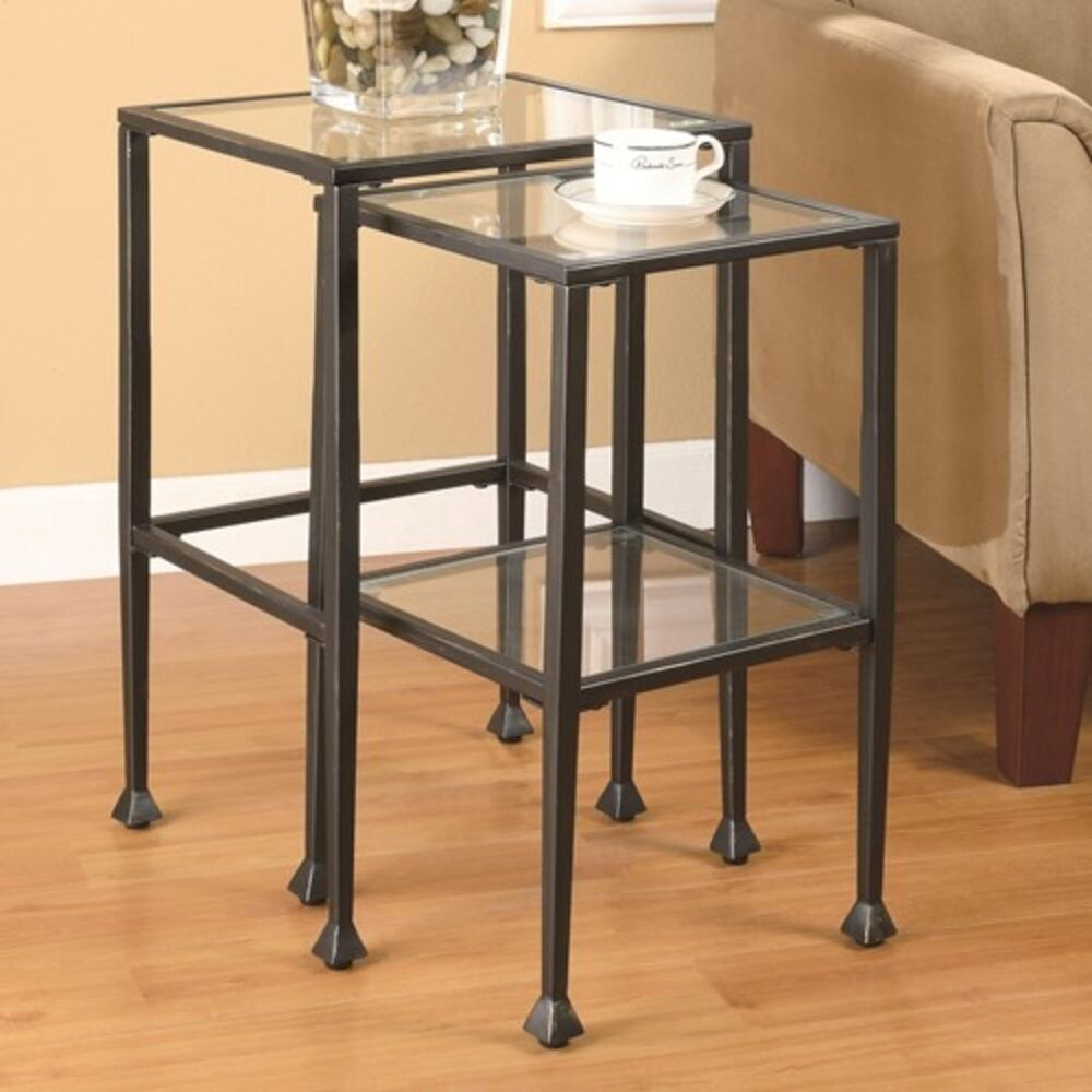 Coaster 901073 nesting tables 2 piece glass and metal for Glass top nesting tables