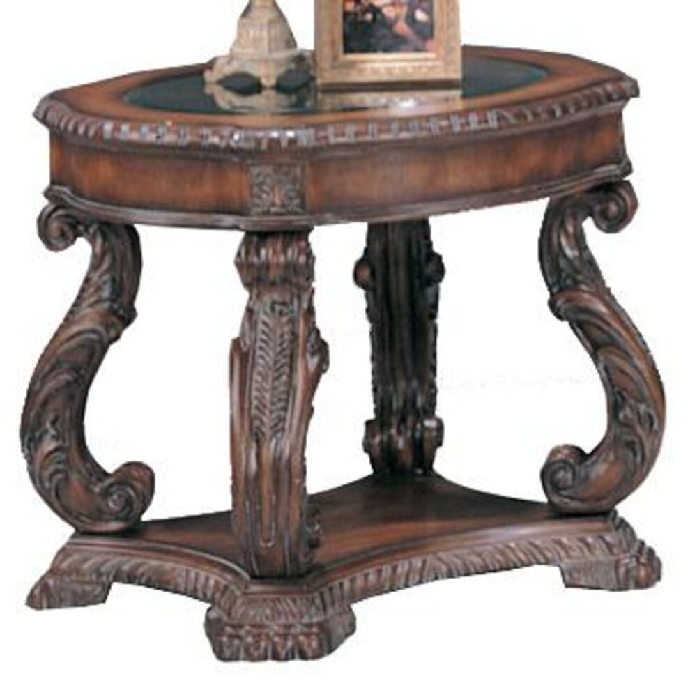 Coaster 3891 doyle traditional oval end table with glass for Glass inlay coffee table