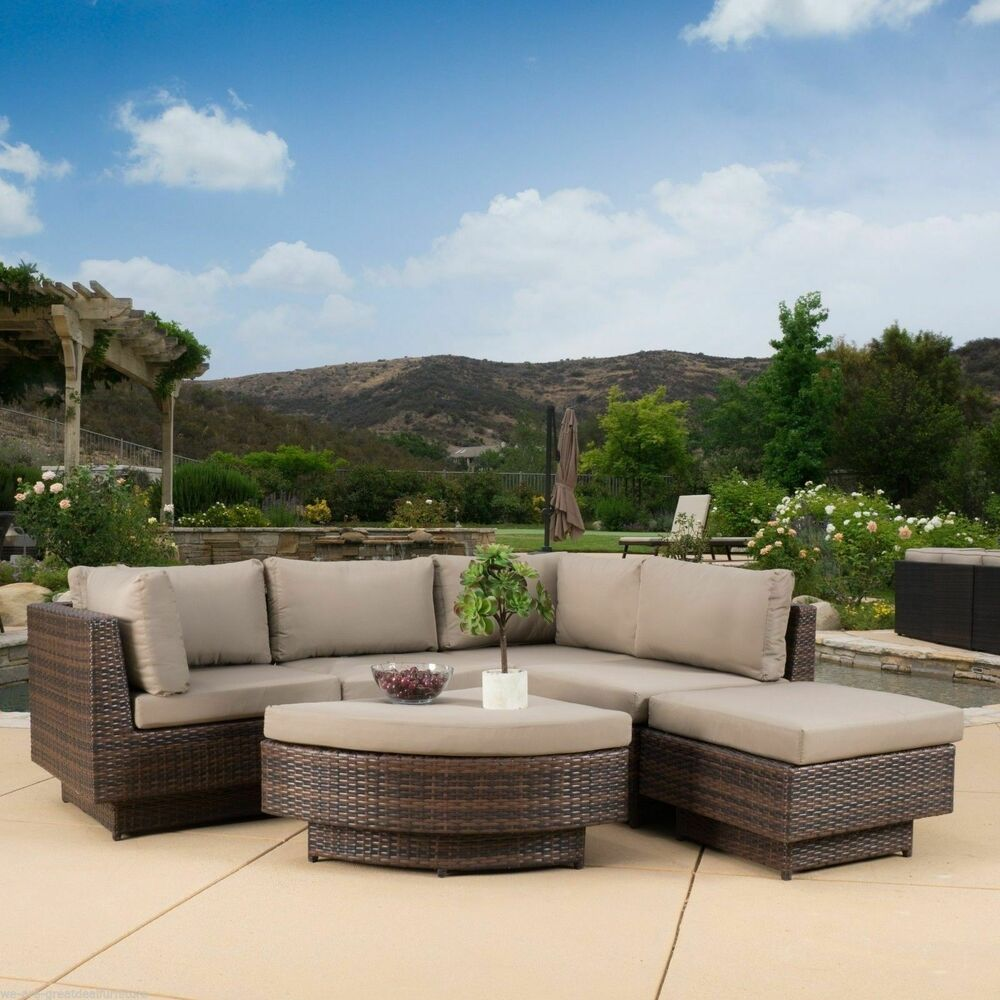 Outdoor patio furniture 6 piece multi brown pe wicker sofa for Wicker patio furniture
