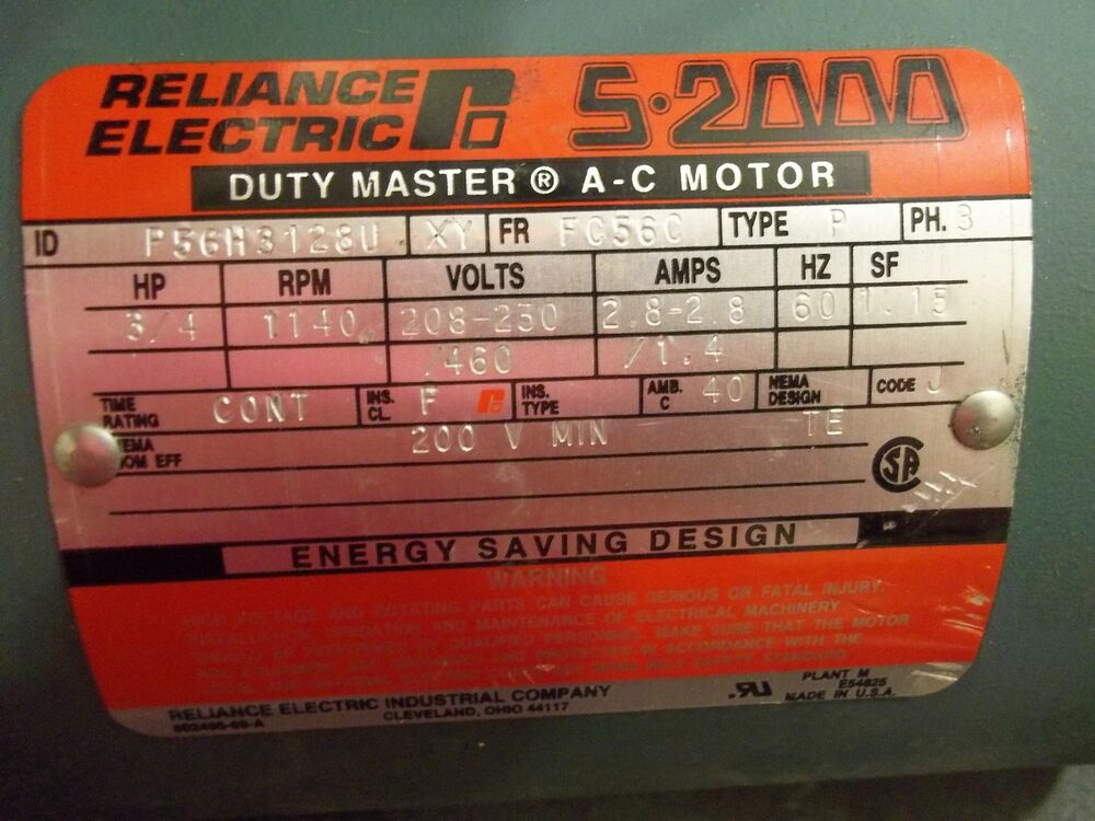 Good reliance a c electric motor s 2000 3 4 hp 1140 rpm for 3 4 hp electric motor