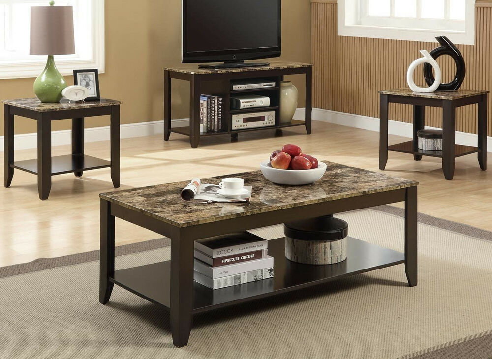 Coaster 3 Pc Table Set 1 Coffee 2 End Tables Faux Marble Top Espresso Finish Ebay