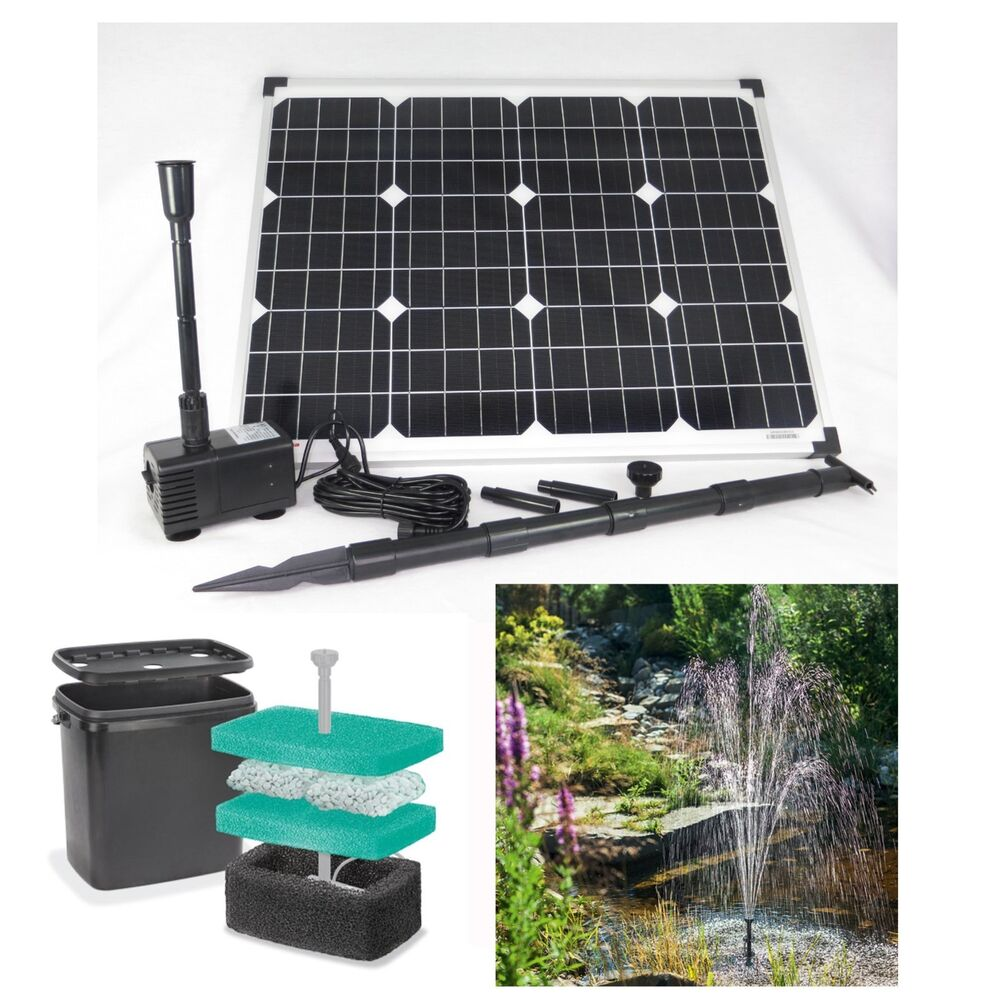 50 w solar teichpumpe filter tauchpumpe garten bachlauf pumpe solarpumpe teich ebay. Black Bedroom Furniture Sets. Home Design Ideas